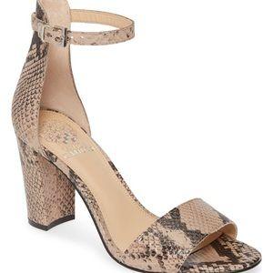 Vince Camuto snakeskin open toe heels!